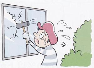 窓割り侵入泥棒