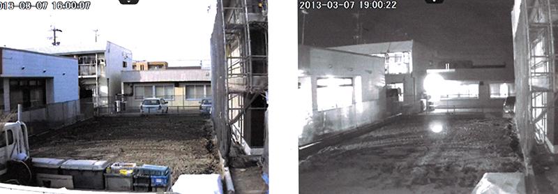 昼間映像[左]と夜間映像[右]